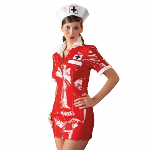 Medical Vinyl Dress Red