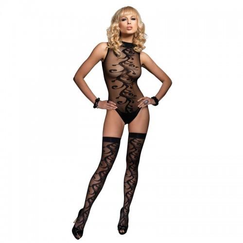 Leg Avenue 2 Piece Jacquard Body With Stockings UK 8 to 14