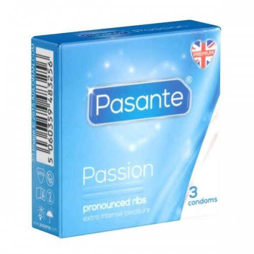 Pasante Ribbed Condoms 3 Pack